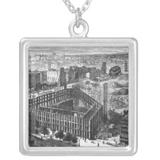 Transformation of Paris: Building in 1861 Silver Plated Necklace