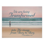 Transformed into His Image Bible, Girl on Beach Poster