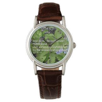 Transformed Romans 12:2 Christian Bible Floral Wristwatches