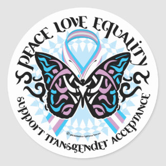 Transgender Butterfly Tribal Classic Round Sticker