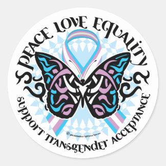 Transgender Butterfly Tribal Round Sticker