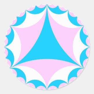 Transgender/intersex colors fractal round sticker