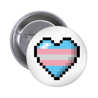 Transgender Pixel Heart 6 Cm Round Badge