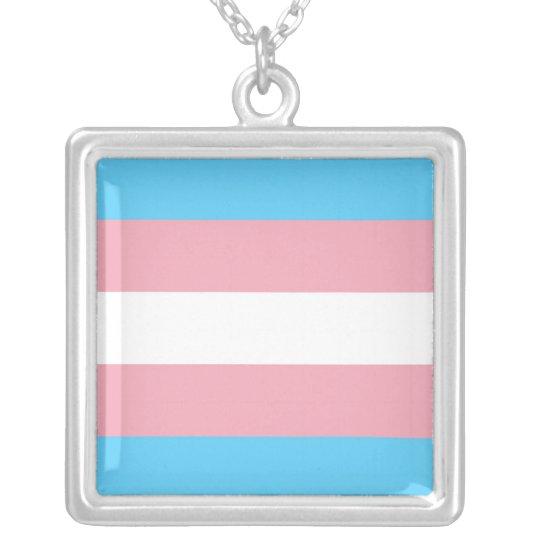 Transgender Pride Flag Silver Plated Necklace