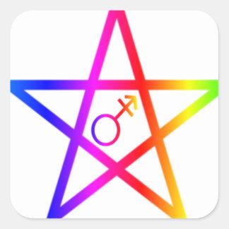 Transgender Upright Rainbow Pentagram Square Sticker