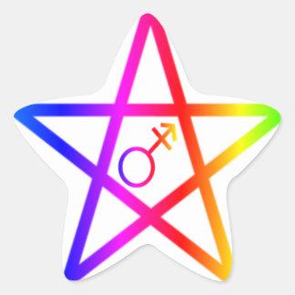 Transgender Upright Rainbow Pentagram Sticker