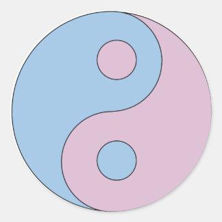 Transgender Yin Yang Symbol Round Sticker
