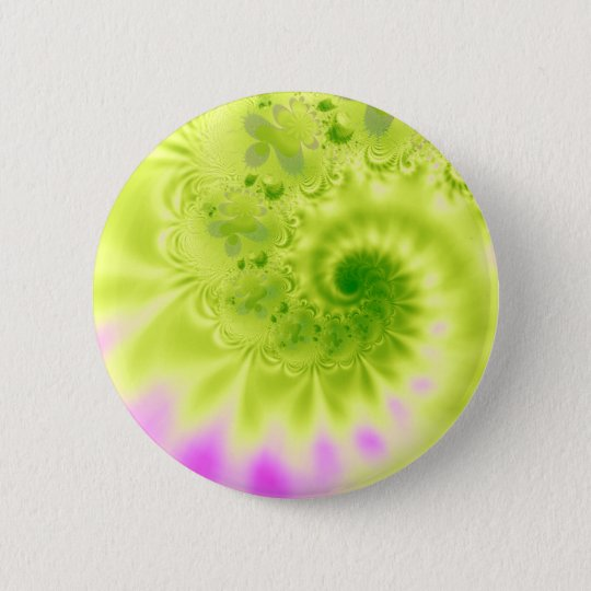 Transience · Fractal Art · Green & Pink 6 Cm Round Badge