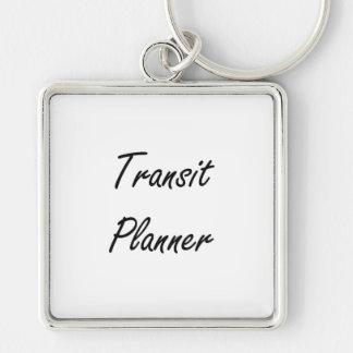 Transit Planner Artistic Job Design Silver-Colored Square Keychain