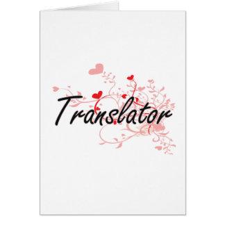 Translator Artistic Job Design with Hearts Greeting Card