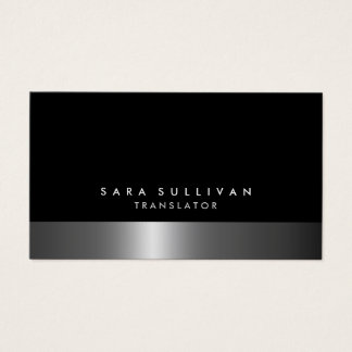 Translator Bold Dark Chrome Silver Services Business Card