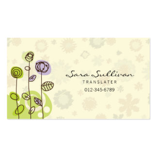 Translator Business Card Doodle Line Flowers