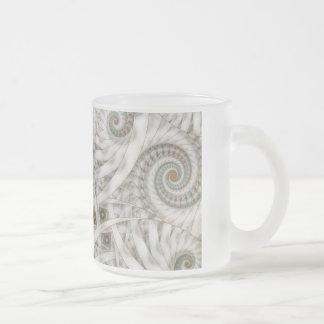 """""""Translucency"""" Pastel Green Spiral Fractal Frosted Glass Mug"""