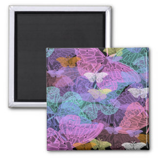 Transluscent Butterflies Abstract Art Square Magnet