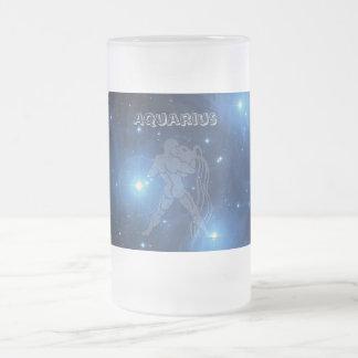 Transparent Aquarius Frosted Glass Beer Mug