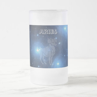 Transparent Aries Frosted Glass Beer Mug