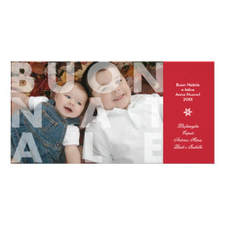 Transparent Buon Natale in Red Photo Card