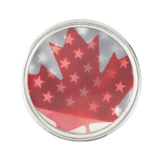 Transparent Canada and USA flags Lapel Pin