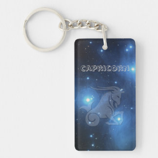 Transparent Capricorn Key Ring