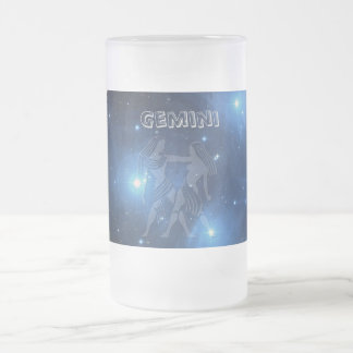 Transparent Gemini Frosted Glass Beer Mug
