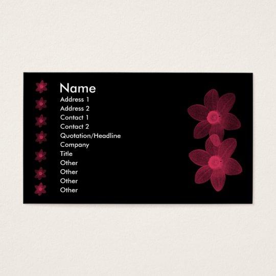 Transparent Pink Flowers Business Card
