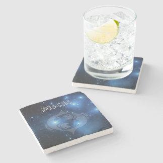 Transparent Pisces Stone Beverage Coaster