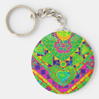 transparent rainbow mosaic key ring