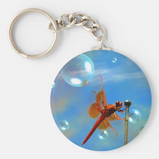 Transparent Red Dragonfly Basic Round Button Key Ring