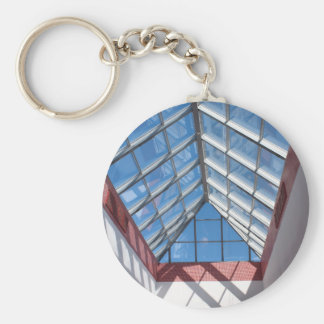 Transparent roof of the shopping center basic round button key ring