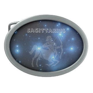 Transparent Sagittarius Oval Belt Buckle