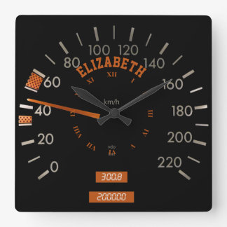 Transparent Speedometer on Dashboard Square Clock