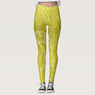 transparent white zen pattern-3 gold gradient leggings