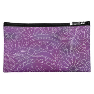 transparent white zen pattern dark violet gradient cosmetic bags