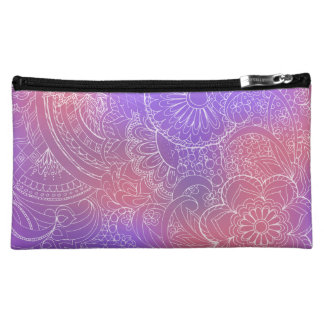 transparent white zen pattern violet gradient makeup bags