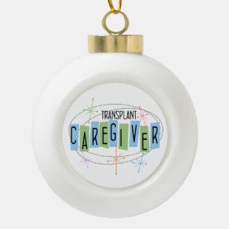 Transplant Caregiver Retro Ceramic Ball Christmas Ornament