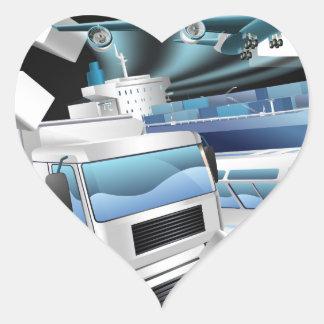 Transport Logistics Cargo Breaking Wall Heart Sticker