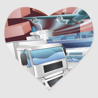 Transport Logistics Cargo Wall Concept Heart Sticker
