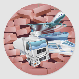 Transport Logistics Cargo Wall Concept Round Sticker