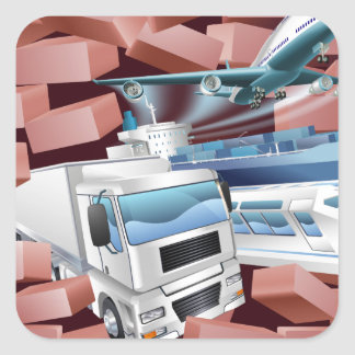 Transport Logistics Cargo Wall Concept Square Sticker