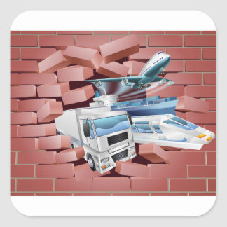 Transport Logistics Cargo Wall Concept Square Sticker