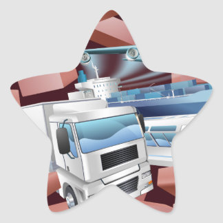 Transport Logistics Cargo Wall Concept Star Sticker