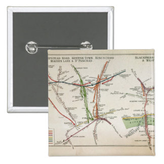 Transport map of London, c.1915 15 Cm Square Badge