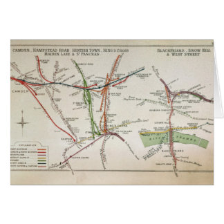Transport map of London, c.1915 Card
