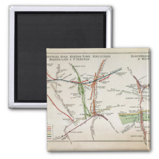 Transport map of London, c.1915 Magnet