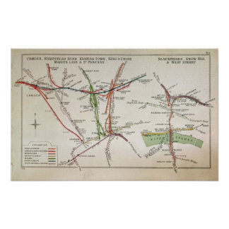 Transport map of London, c.1915 Poster