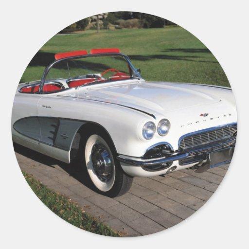 Transportation 077,classic cars,corvette,a classic round stickers