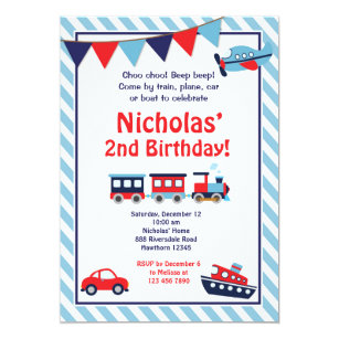 Transportation Birthday Invitation Train Invite