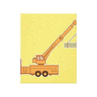 Transportation Crane - Yellow Stretched Canvas Prints
