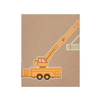 Transportation Heavy Equipment Crane – Brown Canvas Prints