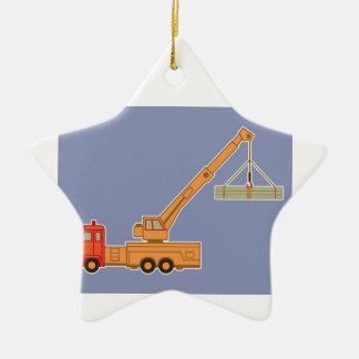Transportation Heavy Equipment Orange Crane – Blue Christmas Ornament